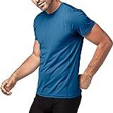 (ラパサ) Lapasa メンズ スポーツシャツ トレニングウェア 半袖 吸汗速乾 抗菌防臭 4色 (M(USサイズ)=日本サイズL相当, 4.ブルー)