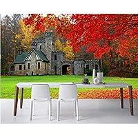 Lcymt 城秋の芝生の枝写真3Dの壁紙、リビングルームのソファテレビ壁の寝室バスルームの壁紙の家の装飾-150X120Cm