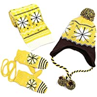 AMAZACER Boys' Scarf, Hat & Glove Set One Size (Color : Yellow, Size : S)