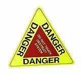 警告!DANGER 大きめ三角 蛍光ステッカー 触るな危険