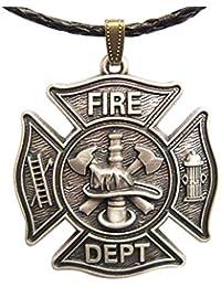 ヴィンテージシルバーメッキHero消防士チャームレザーネックレスもStock in US