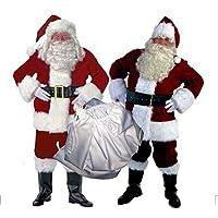 [ゼンアン]ZENAN サンタ コスプレ サンタクロース 長袖 メンズ 衣装 帽子 袋 10点セット 赤 フリーサイズ