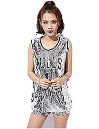 799f0c9fcb093 スパンコール衣装スパンコールロングタンクトップヒップホップ ダンス衣装 HIPHOP ダンスウェア ロングタンクトップ女性用 レディース dance  hip hop…