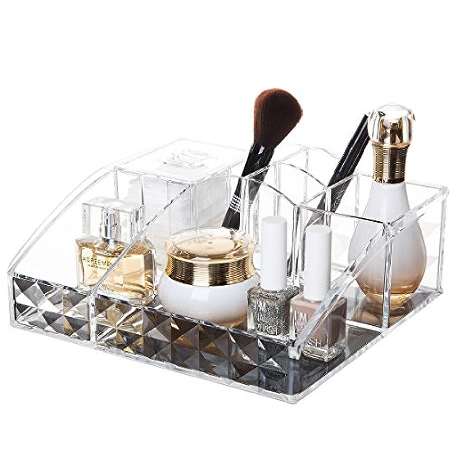 コスメ収納ボックス アクリルケース 収納ケース 卓上収納 仕切り付き アクリル製 化粧道具 雑貨収納 洗面台 鏡台 (Y-1034)