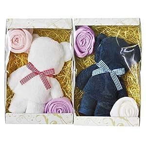 ブルーム 今治タオル タオルベア タオルギフト 2個セット ベア & お花 かわいい タオル ギフト プレゼント 日本製 (ホワイト & ブルー)