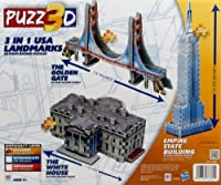 puzz3d 3in 1USA landmarks- TheホワイトHouse , the Empire State Building、ゴールデンゲートブリッジにby puzz 3d