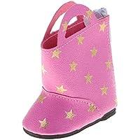 ノーブランド品 かわいい スタープリント ブーツ  靴 14インチ アメリカンガール/ウェリー/ウィッシャードール適用 4色選べる  - ローズレッド