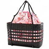(キステ)Kissteかご巾着ゆかた用カゴバッグ7-1-00881黒カゴ×ピンク系