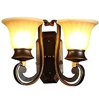 クリエイティブナイトライトウォールランプベッドサイドランプアイアンライトボディーガラスランプシェードE27シングルヘッド26 * 29cmダブルヘッド付き40 * 29cm照射範囲3㎡-8㎡ホテルベッドルームリビングルーム光源なし、装飾ライト2