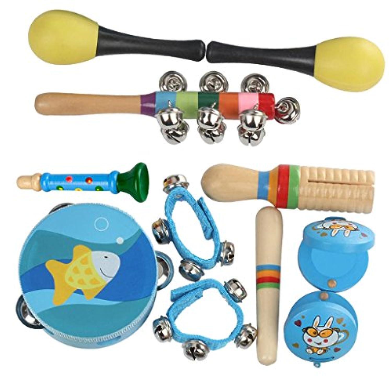 Baosity キッズ 楽器おもちゃ タンバリン マラカ フィンガーカスタネット ウエストベル