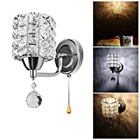 LED壁ランプSunsbellクリスタルウォールライトクローム仕上げ壁取り付け用燭台e14照明器具 SSB-YF34