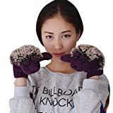 レディース ニット手袋 可愛いグローブ お洒落 もこもこ'冬用グローブ 防寒手袋 ミトン ハリネズミ パープル