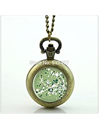 木の花のロケットネックレスの写真のロケットネックレス懐中時計ネックレスシルバー