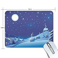 Anmumi マウスパッド 滑り止め 雪 絵 19×25cm ゲームに適用 かわいい オシャレ レディース メンズ 子供 ゴム 実用性 パソコン対応