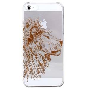 mobee iPhone5 ケース アニマル ペン画 (A) ライオン クリアベース ブラウン ハードケース 【オリジナルデザイン】