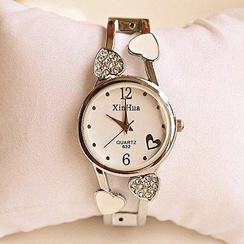 アクセ感覚で!!バングルウォッチ ブレスレット 腕時計 レディース 3色展開 (ホワイト)