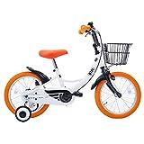SHINE WOOD(シャインウッド) 子供用自転車 自転車 三輪車 幼児用自転車 16インチ 【泥除け付き カゴ付き 補助輪付き】 男の子 女の子 (ホワイト+オレンジ)