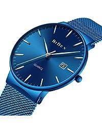腕時計、メンズ腕時計 超薄型クラシックシンプルなブラックステンレスファッションカジュアル腕時計男女兼用カレンダー防水ミラノ時計 (ブルー)