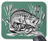 ブラックバスのマウスパッド:フォトパッド( 世界の釣魚シリーズ ) (緑地)