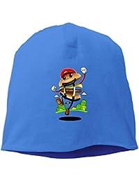 【Dera Princess】メンズ レディース ニット帽 Super Mario Burgerロゴ コットン ニットキャップ 帽子 オールシーズン 被れる