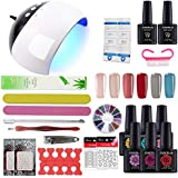 COSCELIA Gel Nail Starter Kit 6 Colors Gel Nail Polish 10ml Top and Base Coat With UV LED Nail Lamp Manicure Tools