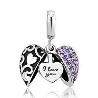 demijewelry I Love You Heart with Heartsチャーム、チャームブレスレット