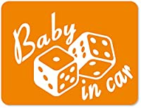 imoninn BABY in car ステッカー 【マグネットタイプ】 No.30 ダイス (オレンジ色)