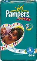 Pampers Baby-Dry Size 5 (24-55 lbs/11-25 kg) Nappies - 4 x Packs of 60 (240 Nappies) by Pampers