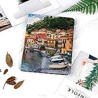 iPad 2/3/4 対応 2つ折りケース スタンド機能 オートスリープ超薄型 傷つけ防止ケース 手帳型カバー 環境にやさしい材質ヨットボートで地中海の夏の村牧歌的な街のパノラマ