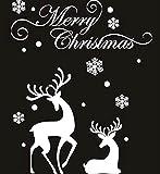 ウォール ステッカー クリスマス デコレーション 窓 壁 一気に X'mas シール 簡単 華やか パーティー 気分 (02:二匹のかわいいトナカイ 雪模様)…