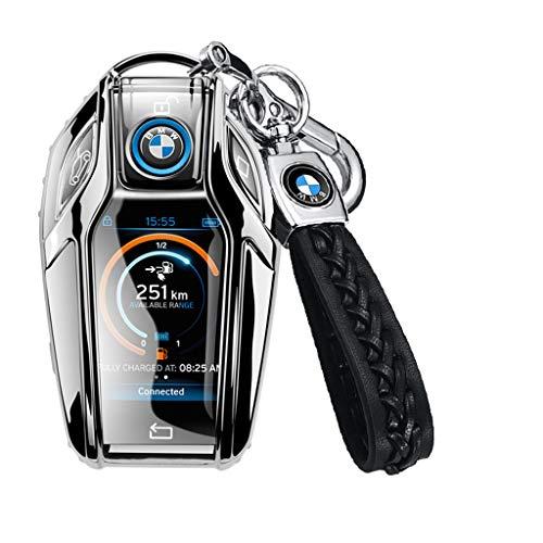 BMW ディスプレイキー キーケース BMW X3 シリーズ BMW 5 6 7 シリーズ i8 専用 カバー スマートキー キーホルダー 保護 ケース (シルバー)