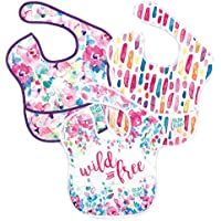 Bumkins SuperBib/Baby Bib 6-24 Months, Waterproof, Washable, Stain and Odor Resistant 3-Pack - Wild & Free, Watercolors, Brush Strokes