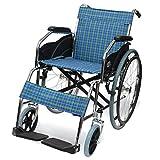 ケアテックジャパン 自走式 スチール製 折りたたみ 車椅子 ウィッシュ CS-10 タータンブルーチェック