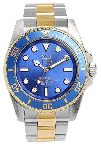 [HYAKUICHI 101] ダイバーズウォッチ スイープセコンド 200m防水 逆回転防止ベゼル 腕時計 メンズ (ブルー×ゴールド)