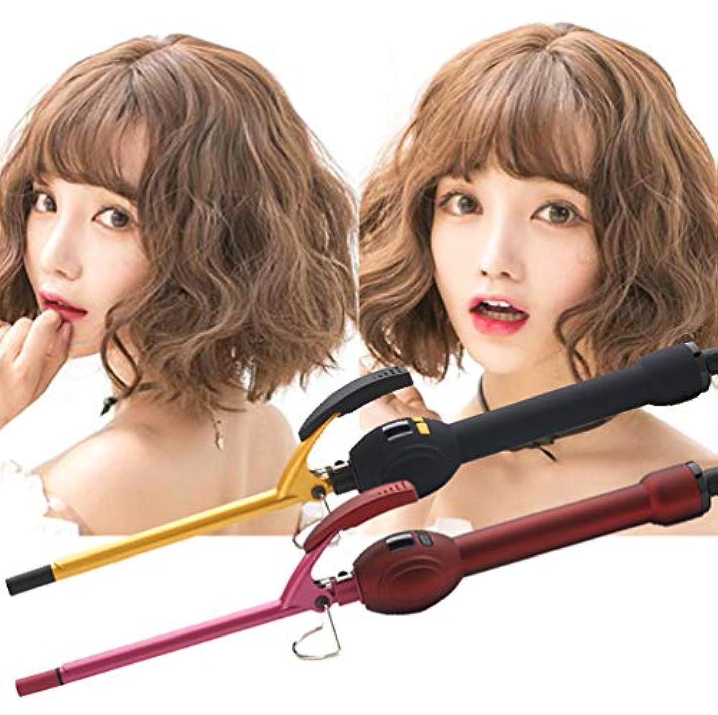 男性と女性のためのミニカーリングアイロン小さなバレルカーリングトングアフロヘアカーラー短い髪と長い髪のためのプロフェッショナルトルマリンセラミックカーリングワンド