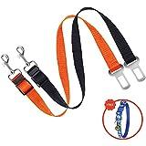 MESIMME 2 Packs Dog Seat Belt, Pet Dog Cat Car Seat Belt Safety, Adjustable Nylon Dog Safety Belt, Pet Leash