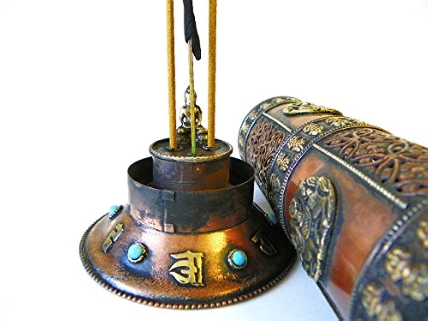 ゴミ箱を空にするシソーラス放棄f695 Stunningチベット円柱スタイルIncense Burner Hand Crafted inネパール