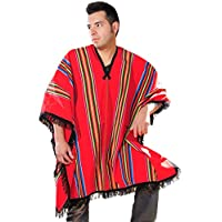 Gamboa - Warm Poncho - for Men - Rustic Style - Red with Multicolor Stripes