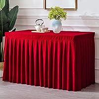 GX テーブルクロス- テーブルスカートの金線のビロードの長方形の印、厚くされた会議室のオフィス展覧会は押しのストールの冷たい食事のテーブルセットを引きます,新しい (色 : Big red, サイズ : 60*240*75cm)