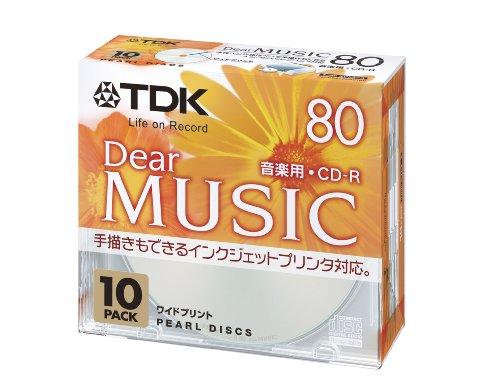 TDK 音楽用CD-R 80分 インクジェットプリンタ対応 パールカラー ワイド印刷仕様  10枚パック CD-RDE80PPX10N