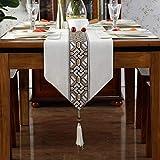 テーブルランナー/プレミアムロングサテン/ファッションテーブルクロス/ベッドテールクロス/ブロンズゴールドベルベット/幾何学模様/フリンジ付き/ディナーナプキン g (Color : White-, Size : 33×180cm)