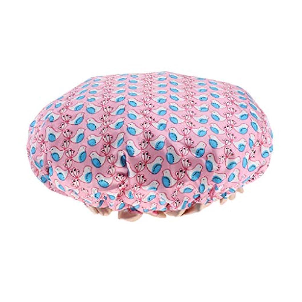 盆地文房具ウィザードシャワーキャップ ヘアキャップ 帽子 女性用 入浴 バス用品 二重層 防水 全3色 - ピンク
