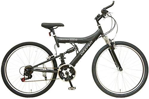 (ディーパー)DEEPER マウンテンバイク DE-08 26インチ シマノ18段変速 自転車 フルサスペンション バーエンド装備 ブラック