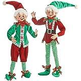 "RAZ Imports Santa's Little Helpers 16"" Posable Elf Asst of 2 - Green"