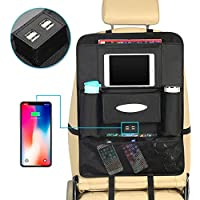 Car Back Seat Organiser with 4 USB Charger,Car Storage Backseat Protector with Multi Pocket Storage Bag Holder for iPad Tablet Bottle Tissue Box Toys Vehicles Travel