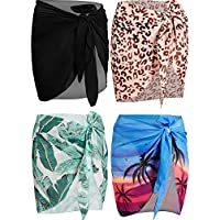 4 Pieces Women Chiffon Short Sarongs Cover Ups Beach Swimsuit Wrap Skirt, 4 Colors