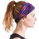 Casualbox   Tie-Dye Hippie Headband   Elastic Bandana   Head Cover Wrap for Men & Women   Psychedelic Flower Pattern   60's 70's Retro Bohemian Boho