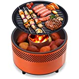 Charcoal Grill Mini Barbecue Indoor Outdoor Portable Grill Outdoor Windproof Smokeless Barbecue BBQ Barbecue Stove (Color : Orange, Size : 34 * 22cm)