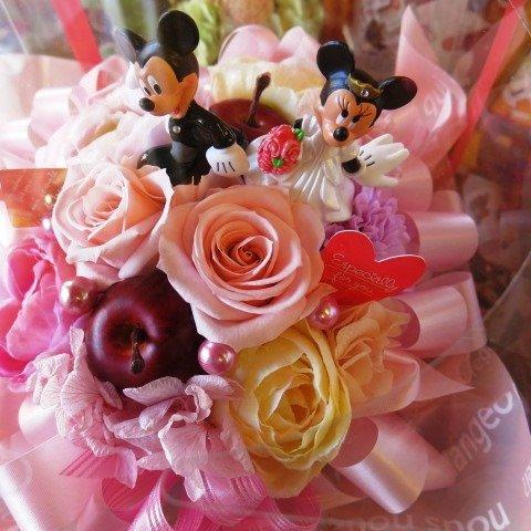 ディズニー フラワーギフト ミッキー ミニー 結婚祝いプレゼント プリザーブドフラワーアレンジメント プチピンク ケース付き ウェディングB 結婚祝いプレゼント・記念日の贈り物におすすめのフラワーギフト