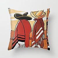 抱き枕カバー メキシコ旅行 - ソンブレロとポンチョの男性 枕カバー デザイン 個性 背当て お部屋のソファー ベッド 車に適用インテリア